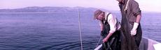 Fischer und vater sonnenaufgangt
