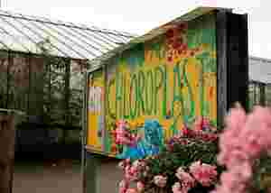 Zu sehen ist das Eingangsschild von Chloroplast Stuttgart e.V.