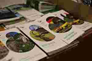 Zu sehen sind Broschüren über den Naturpark Schönbuch und seine Besonderheiten.